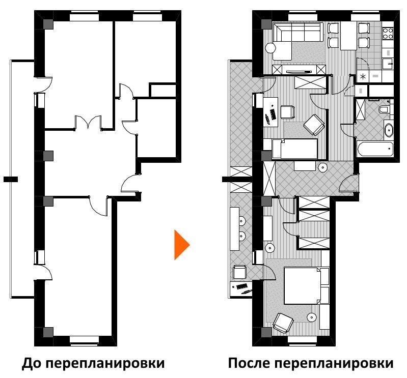 Проект перепланировки двухкомнатной чешки в трехкомнатную квартиру