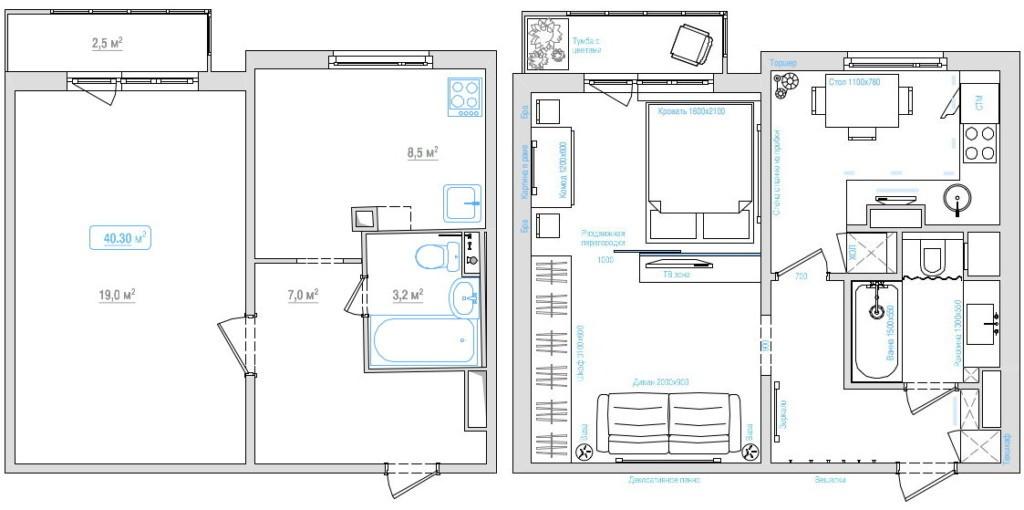 План однокомнатной квартиры до и после перепланировки