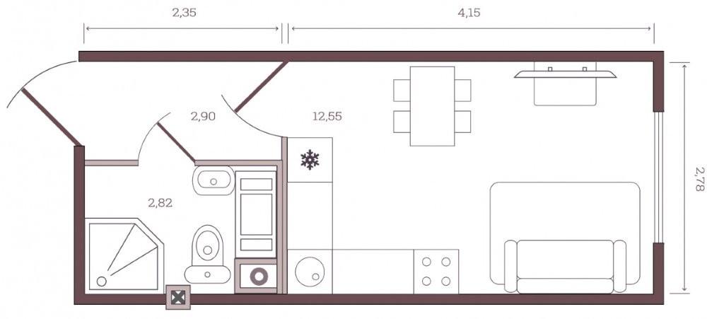 План однокомнатной квартиры-студии площадью 18 кв м