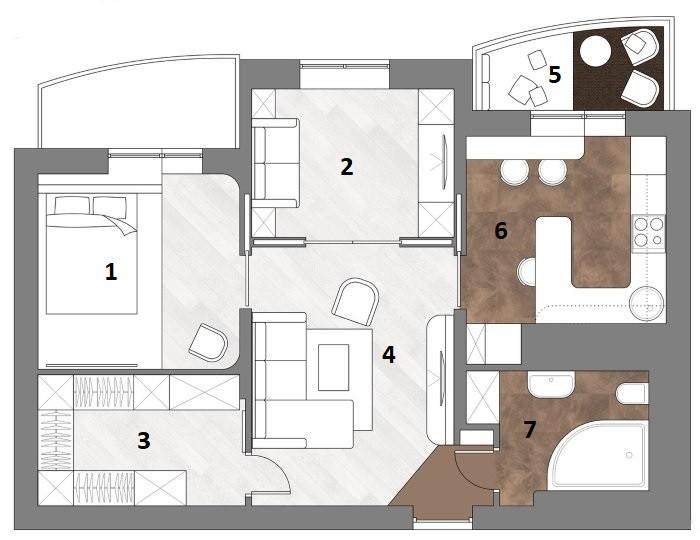 Проект перепланировки двухкомнатной квартиры