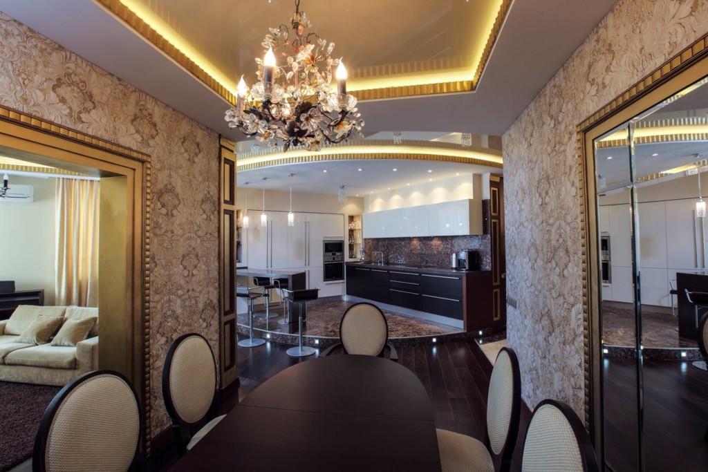 Подсветка потолка кухни в стиле арт-деко