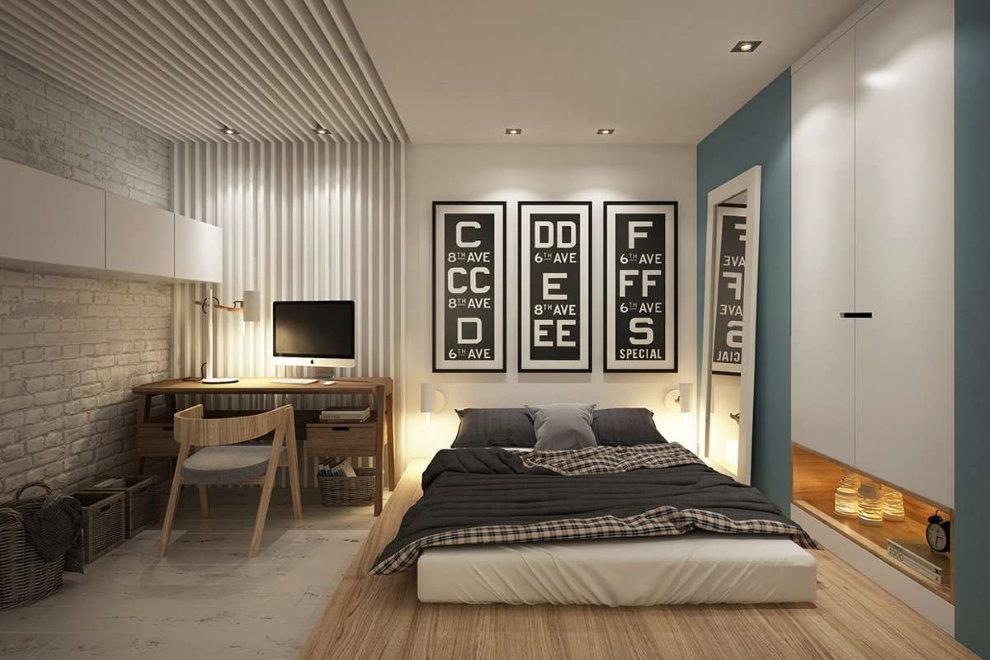 Зонирование полом пространства спальни с рабочим местом