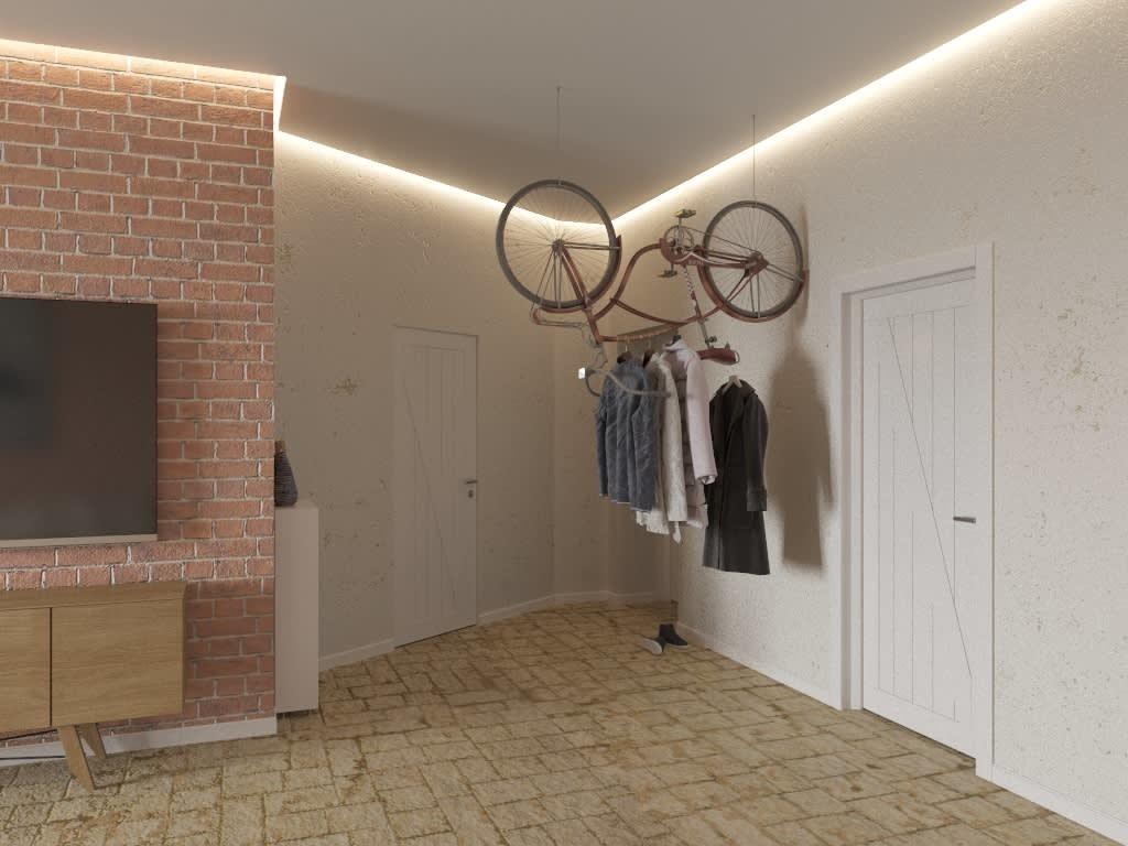 Вешалка из велосипеда в просторной прихожей