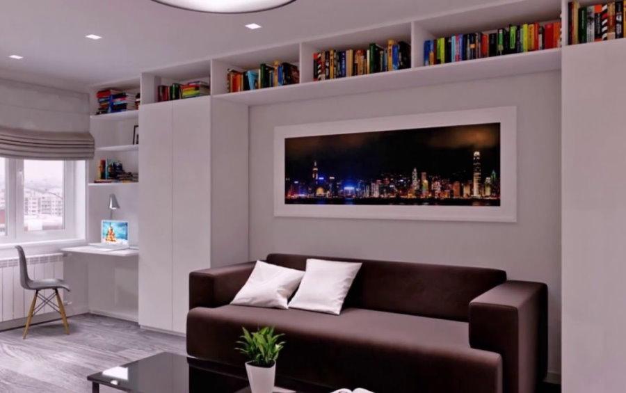 Хранение книг под потолком гостиной