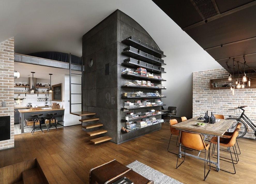 Интерьер квартиры-студии индустриального стиля
