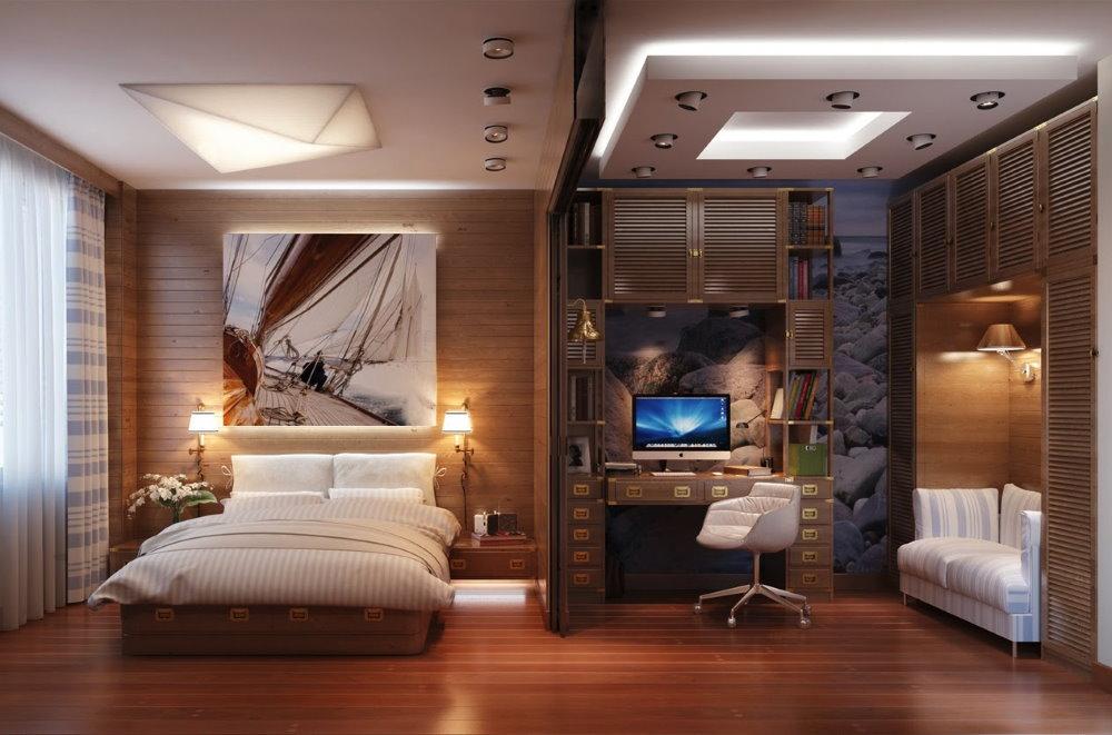 Многоуровневый потолок в кабинет-спальне