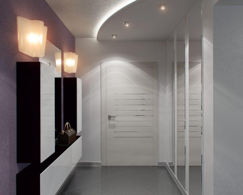 Двухуровневый потолок прихожей в стилистике хай-тека