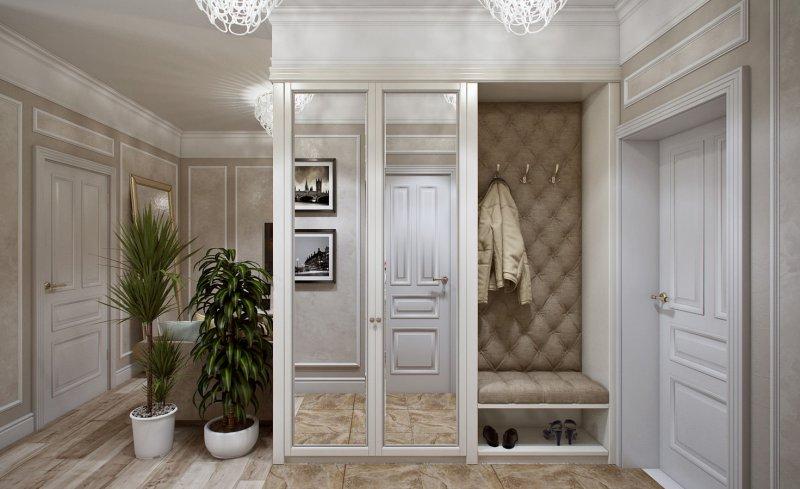 прихожая в классическом стиле шкаф с зеркалом