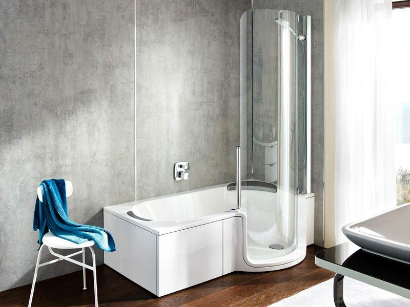 Прозрачное стекло на ванне с душем