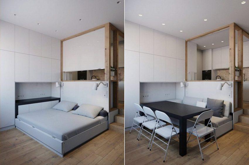 Кровать-трансформер в квартире-студии