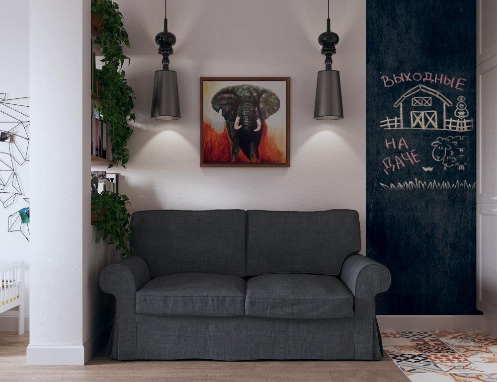 Серая обивка прямого дивана раскладного типа