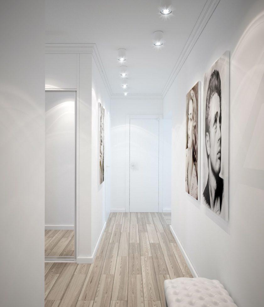 Точечные светильники на белом потолке коридора