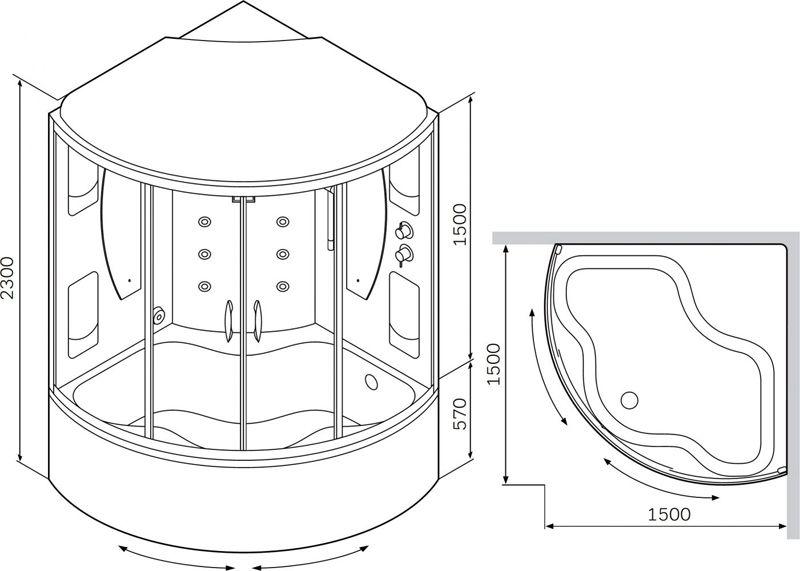 Стандартные размеры угловой ванны с душевой кабиной