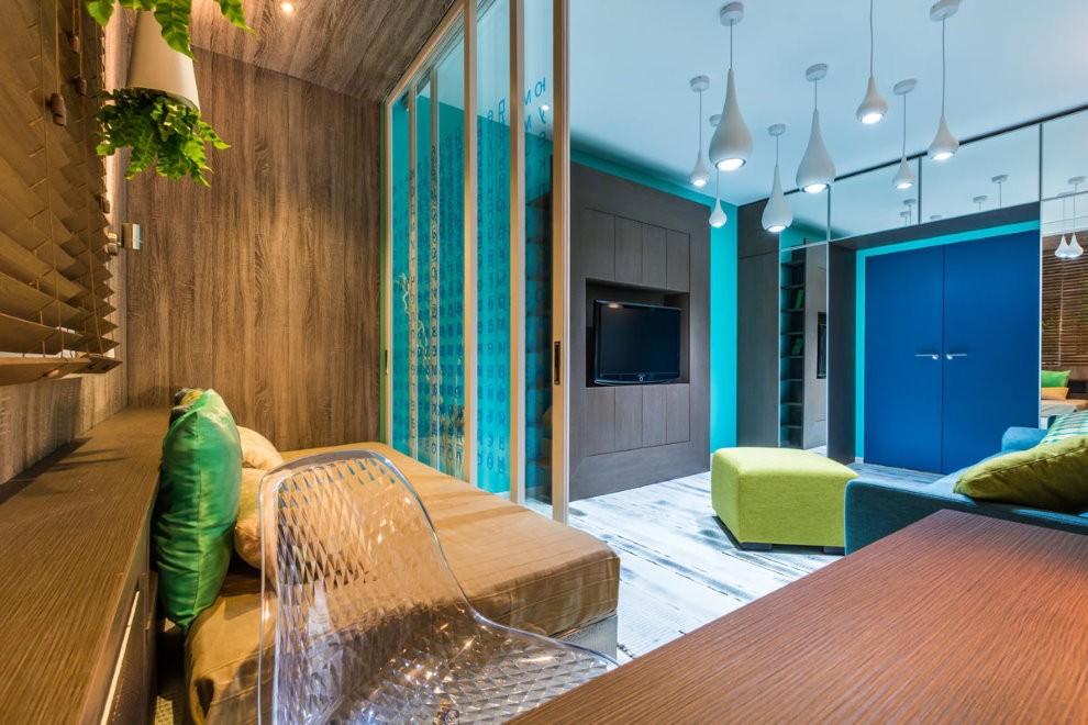 Зонирование квартиры-студии цветом