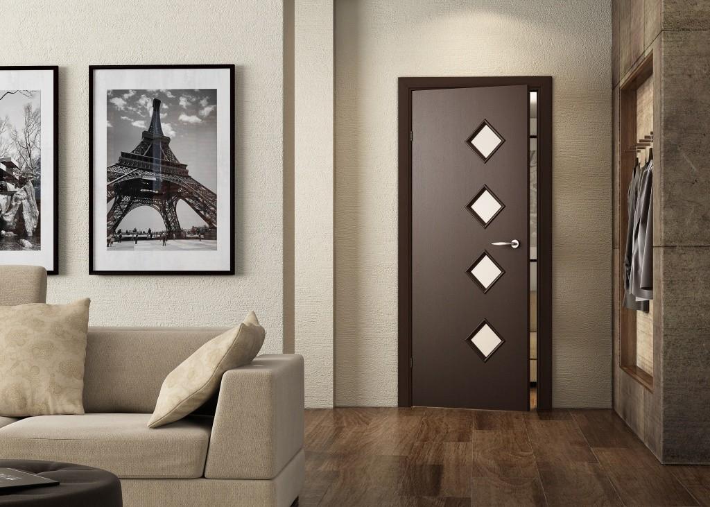 Ромбики на дверном полотне межкомнатной двери
