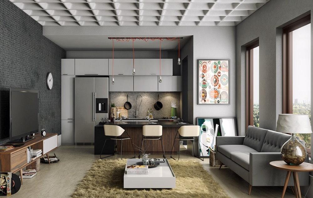 Оформление окон без занавесок в квартире холостяка