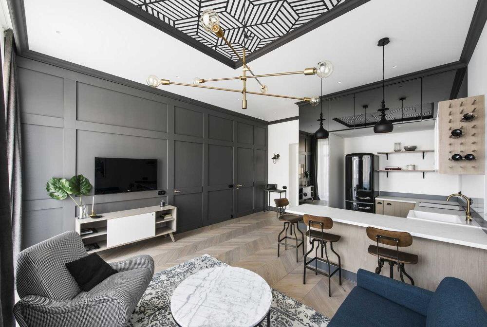 Серая мебель в квартире для холостяка