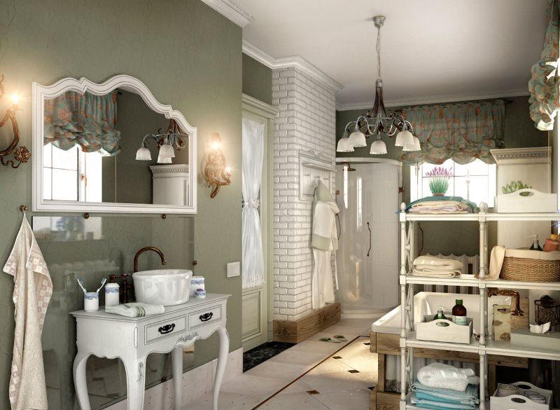 Стеклянный фартук на крашенной стене в ванной стиля прованс