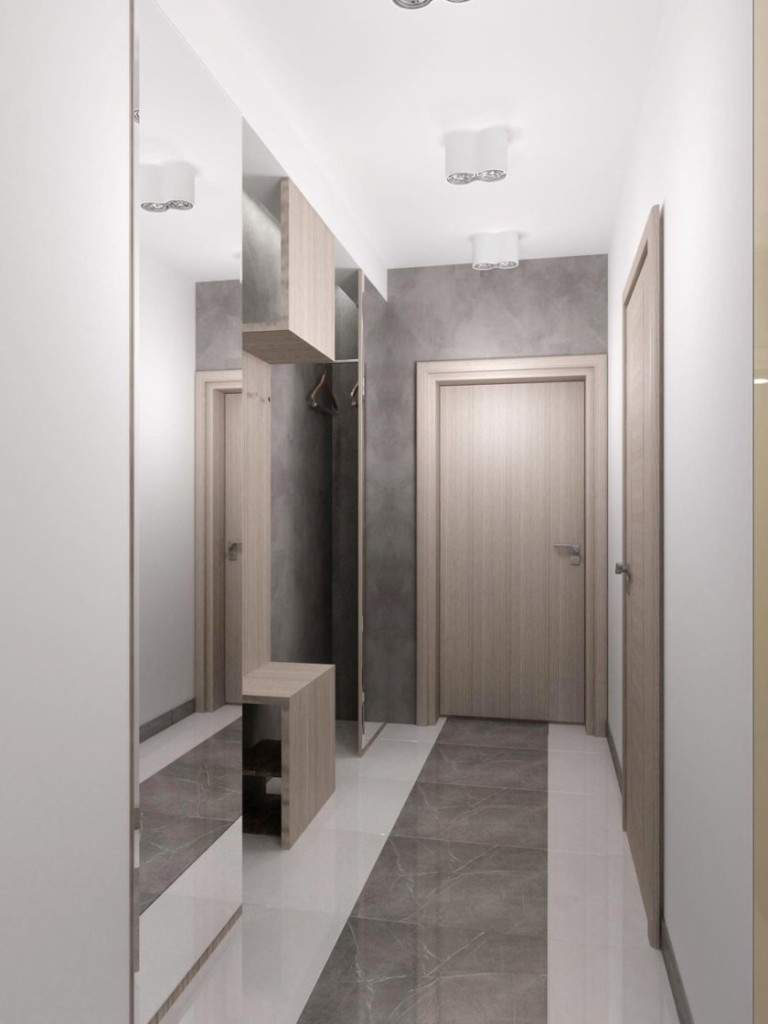 Серо-белый интерьер коридора в стиле хай-тек