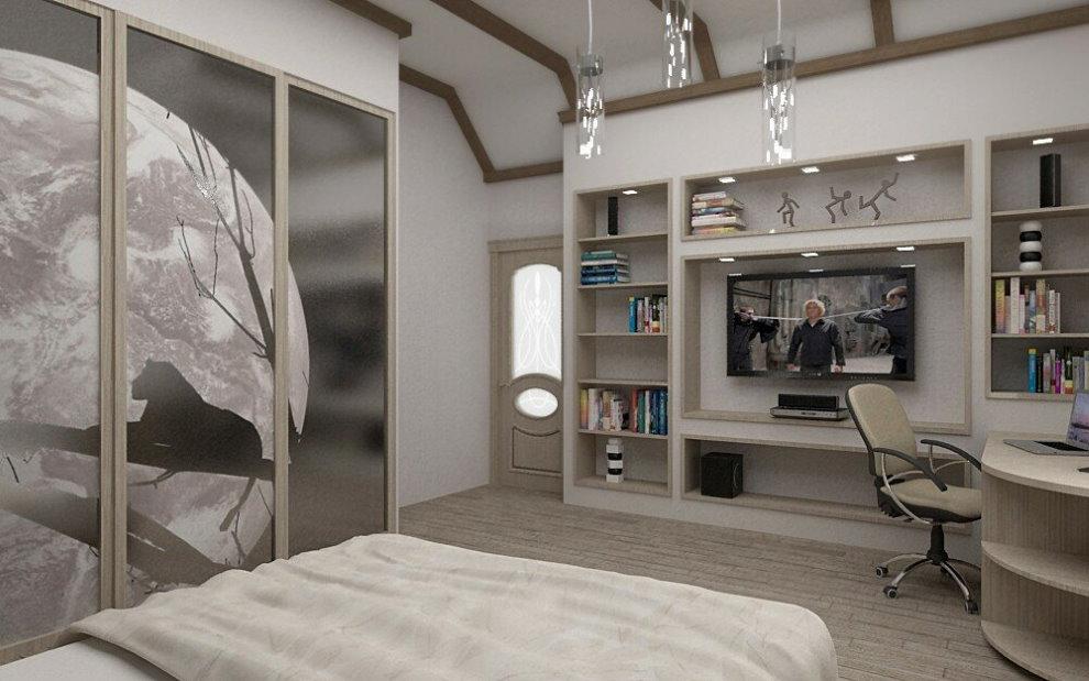 Дизайн спальни-кабинета в современном стиле