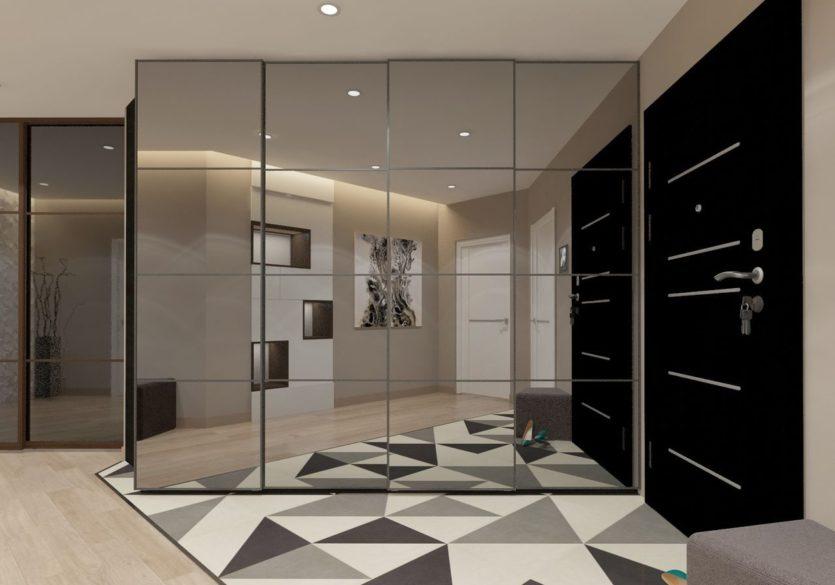 Зеркальный шкаф в просторной прихожей