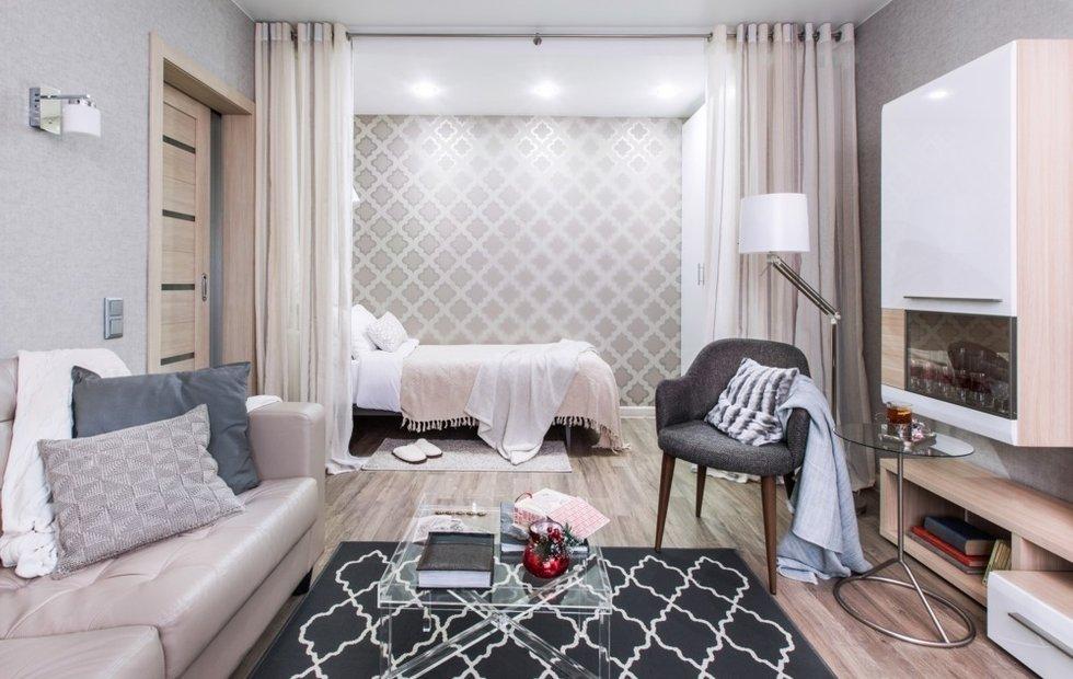 Зонирование однокомнатной квартиры плотными шторами