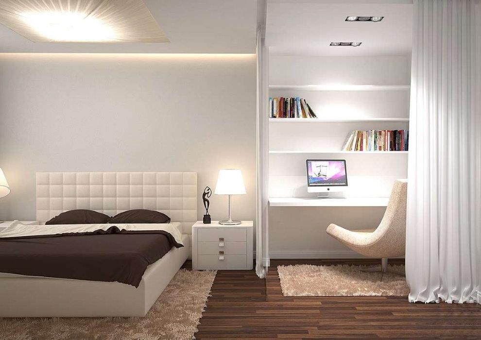 Зонирование шторой пространства кабинета-спальни