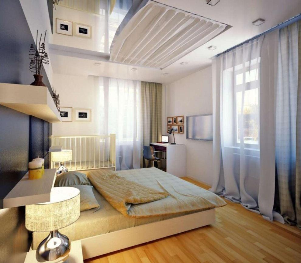 Спальня с двумя окнами с кроваткой для младенца