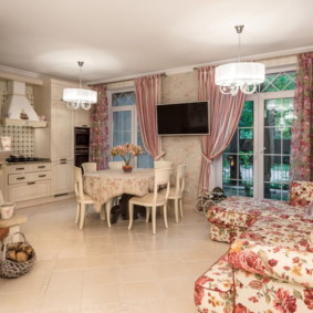 шторы для кухни в стиле прованс декор фото