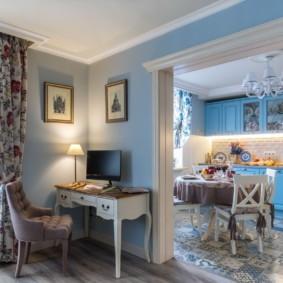 шторы для кухни в стиле прованс фото интерьера