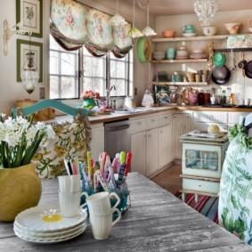шторы для кухни в стиле прованс дизайн идеи