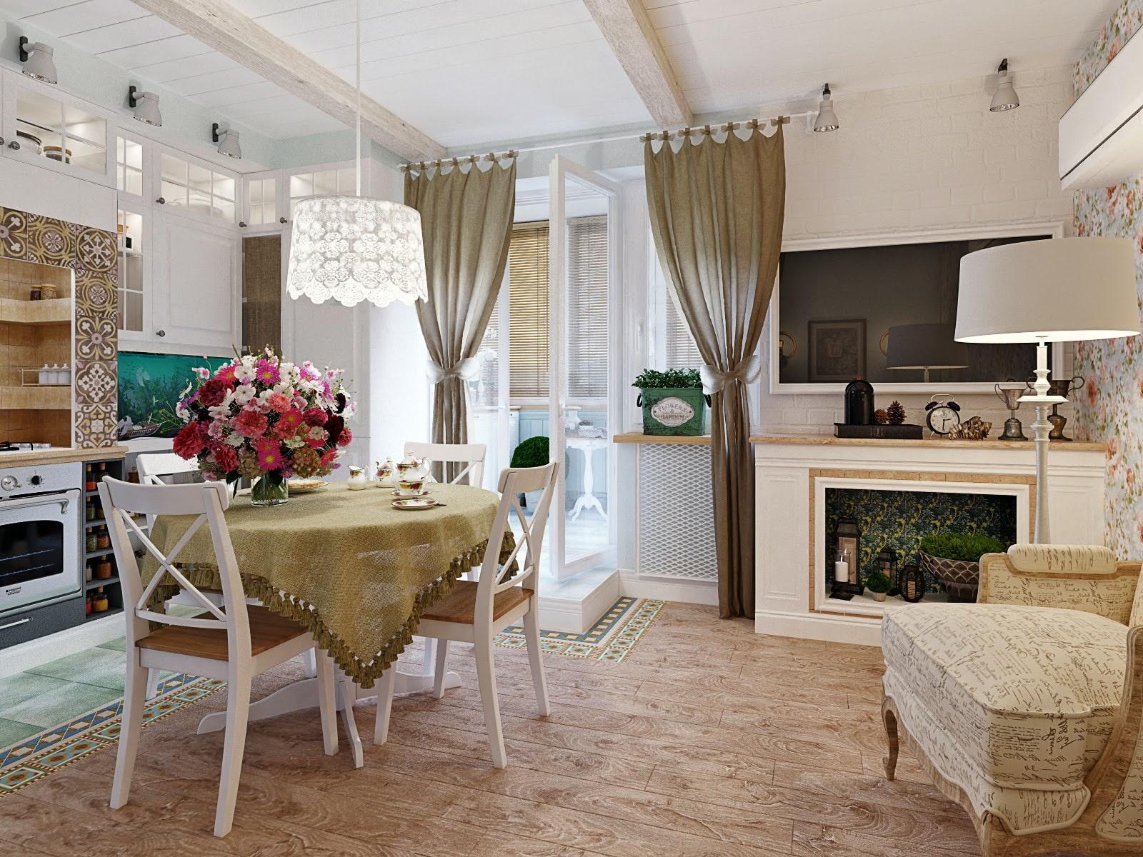шторы для кухни в стиле прованс однотонные