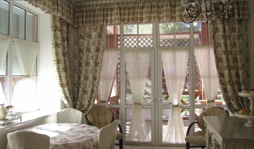 шторы для кухни в стиле прованс с оборками