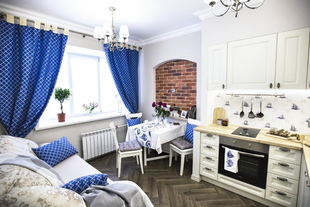 шторы для кухни в стиле прованс синие
