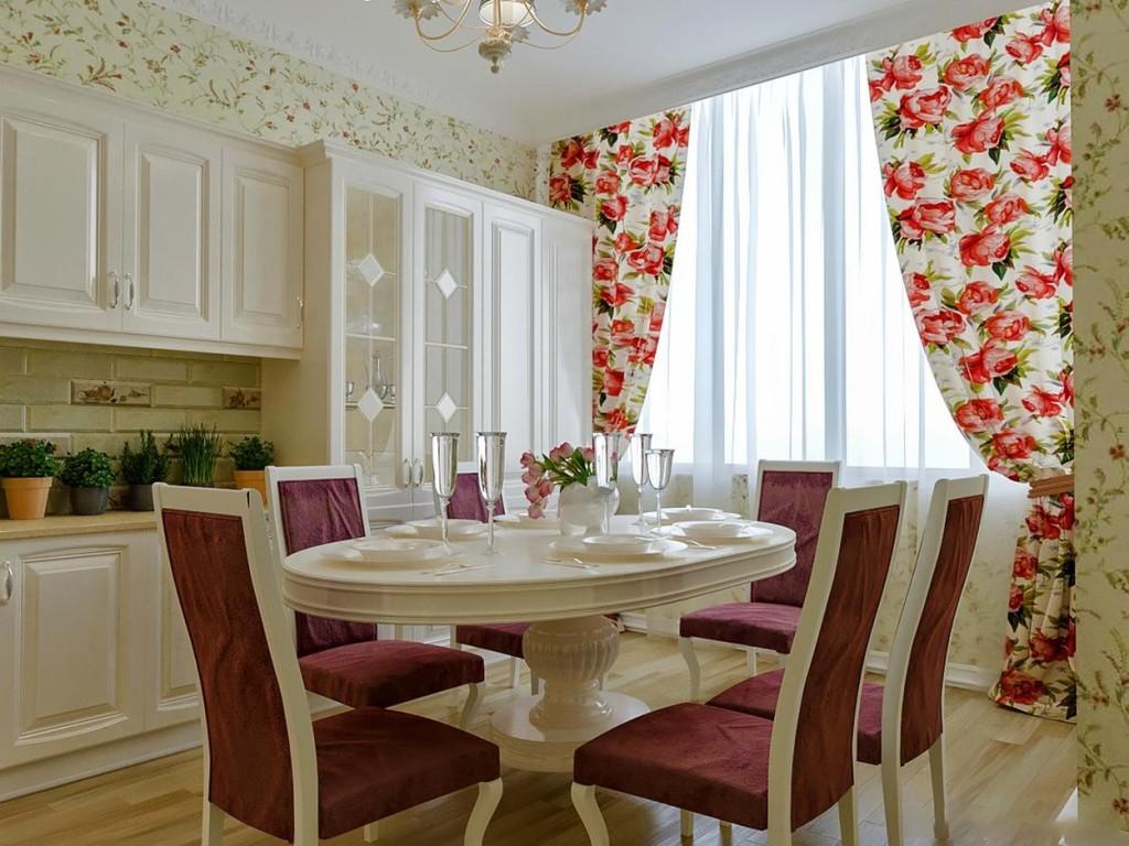 шторы для кухни в стиле прованс в цветочек