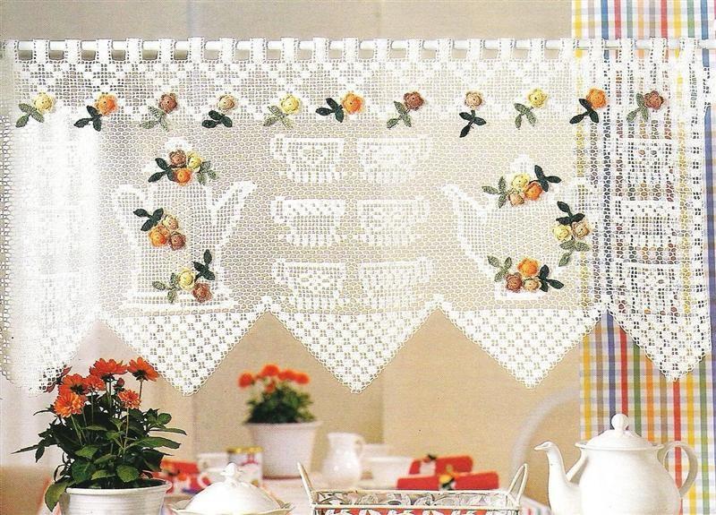 шторы для кухни в стиле прованс вязаные