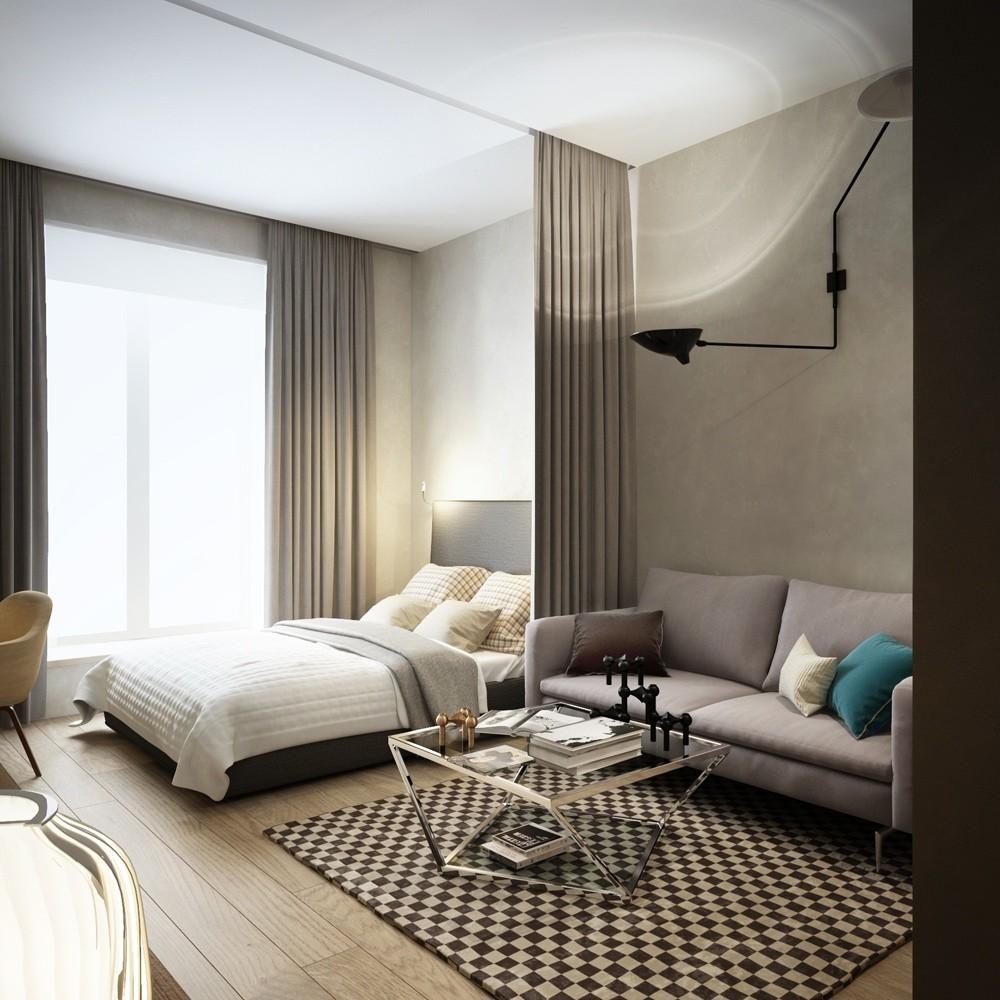 Зонирование комнаты с помощью штор на карнизе