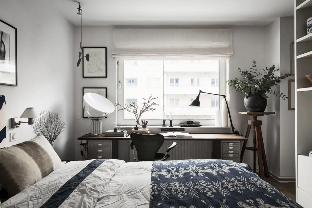 Спальня с рабочим местом в скандинавском стиле