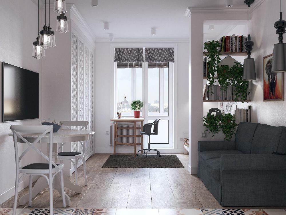 Раскладной диван в квартире-студии скандинавского стиля