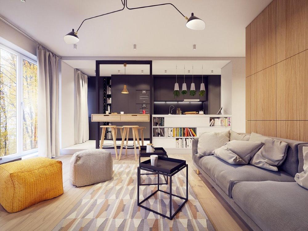 Интерьер современной квартиры с одной комнатой