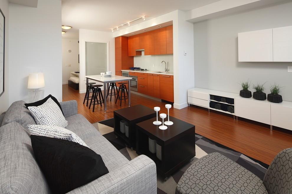 Серый диван в гостиной зоне однушки