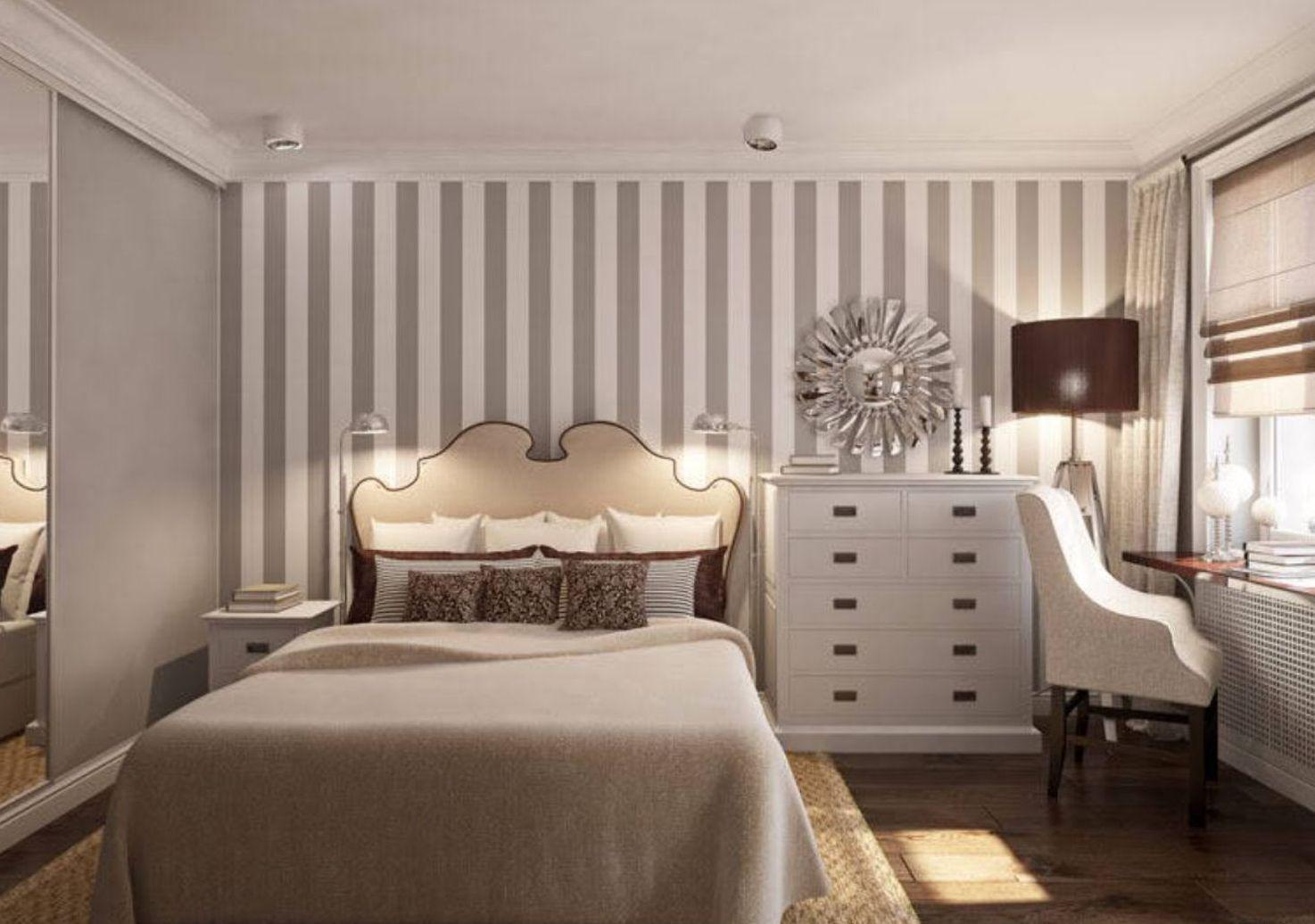 спальня 16 кв метров обои в вертикальную полоску