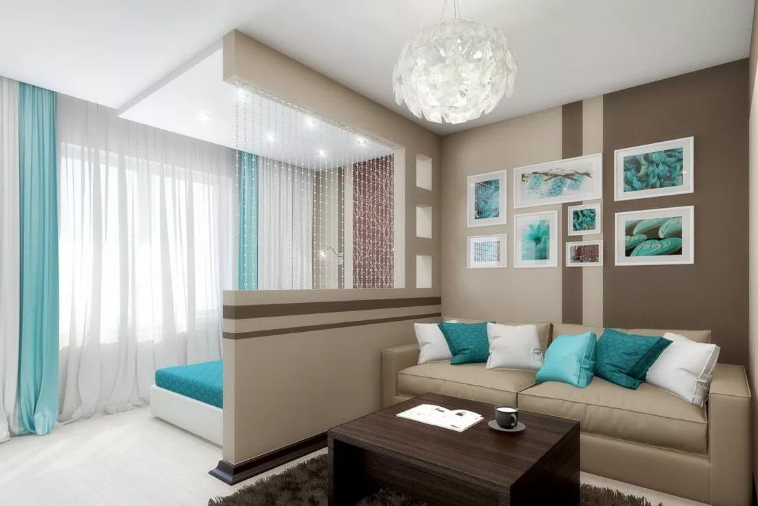 спальня гостиная 14 кв м