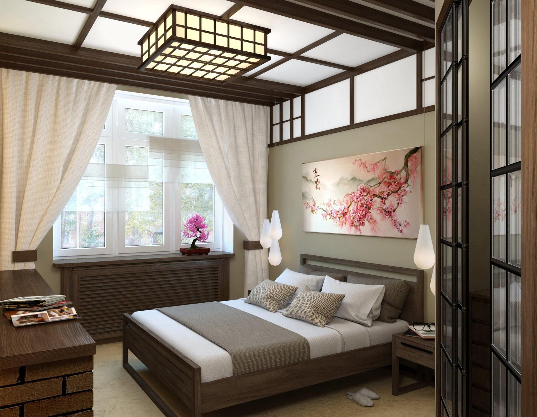 спальня площадью 5 на 5 метров японский стиль