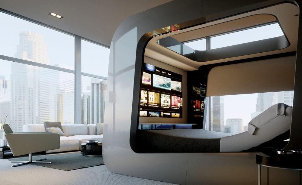 Спальный бокс в квартире-студии стиля хай-тек