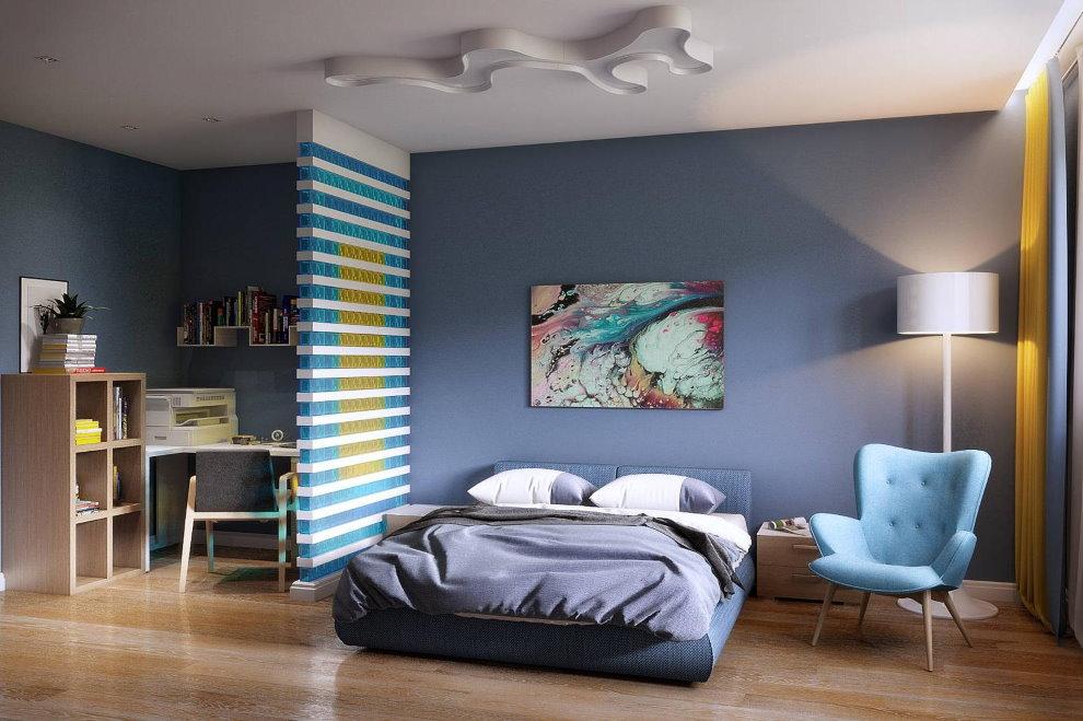 Разделение спальни и кабинета перегородкой из стеклоблоков