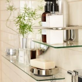 стеклянные полки для ванной комнаты декор