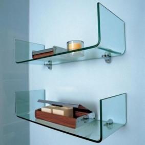 стеклянные полки для ванной комнаты декор фото