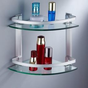 стеклянные полки для ванной комнаты идеи интерьера