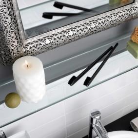 стеклянные полки для ванной комнаты идеи оформления